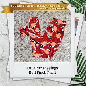 LuLaRoe OS Bull Finch Birds Leggings